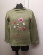 sweter 116 122 khaki w kwiaty...