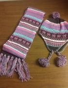 nowy komplet czapka szalik różowy brązowy z pomponami...