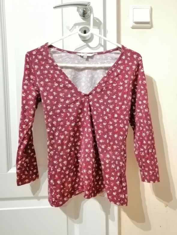 Bordowa burgundowa bluzka w kwiaty dekolt v serek C&A rękaw trz...