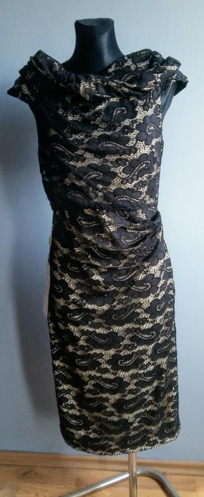 4cb14ee2f7 Suknie i sukienki Wieczorowa sukienka w rozm 40 efekt gołej skóry koronka