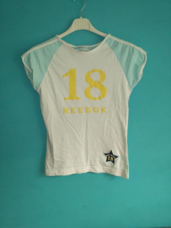 Biało niebieska koszulka z nadrukiem reebok 36...