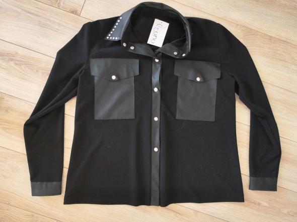 Nowa elegancka koszula czarna wstawki skóra rozm 44
