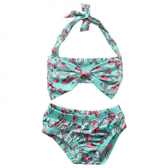 Bielizna dziecięca Nowy strój kąpielowy dziecięcy dziewczęcy bikini 3 lata flaming flamingi różowe