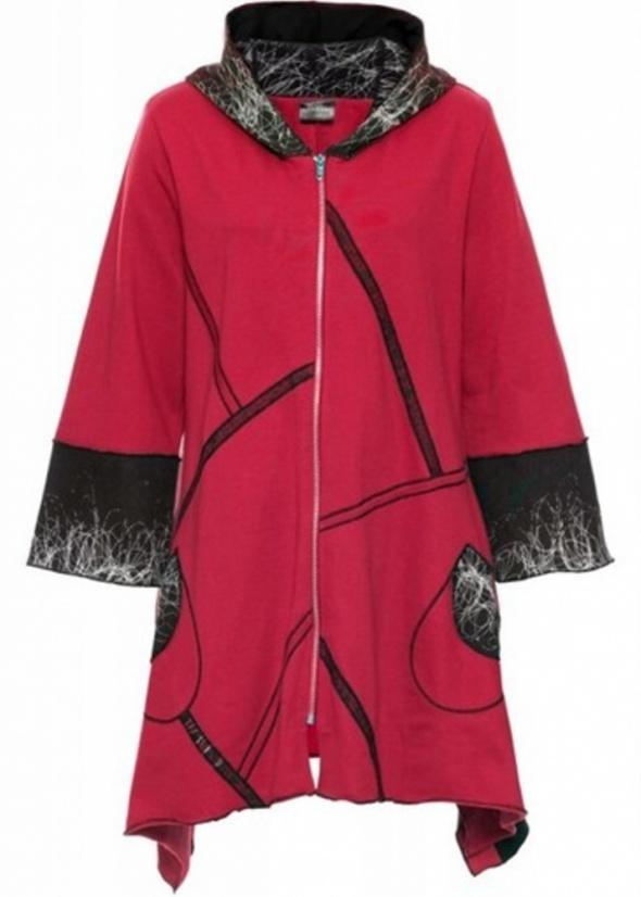Płaszcz dresowy z kapturem asymetryczny designer...