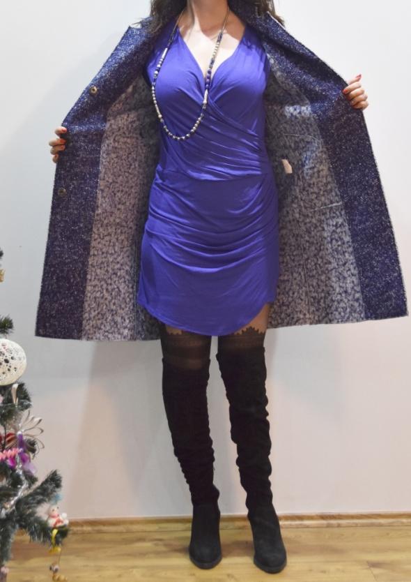 Wełniany płaszcz przejściowy niebieskobiały melanż Forwear