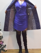 Wełniany płaszcz przejściowy niebieskobiały melanż Forwear...