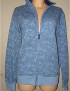 niebieska bluza kwiatki floral cudna 46 48...