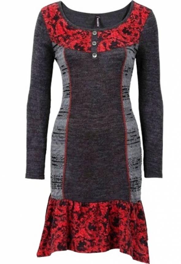 Sukienka dzianinowa w stylu etno łączone materiały...