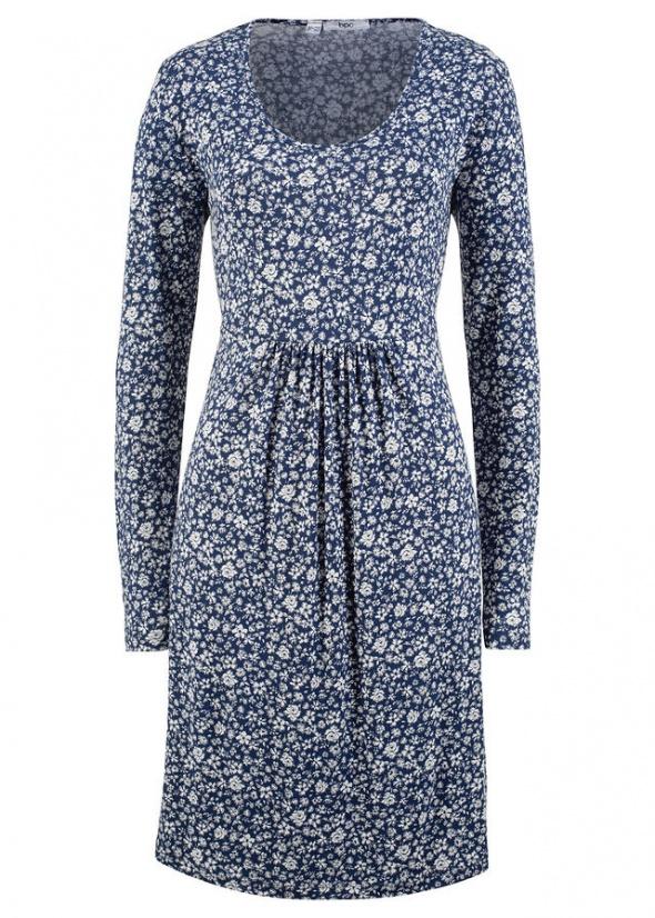 Kobaltowa w kwiaty sukienka shirtowa...