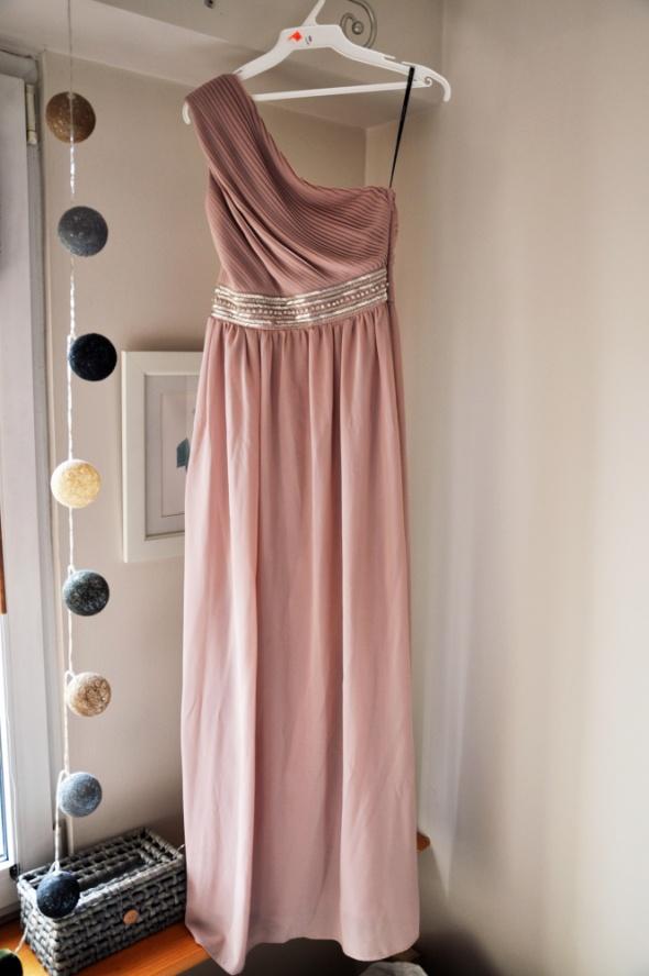 Piękna długa suknia maxi asos tfnc brudny róż xs 34...