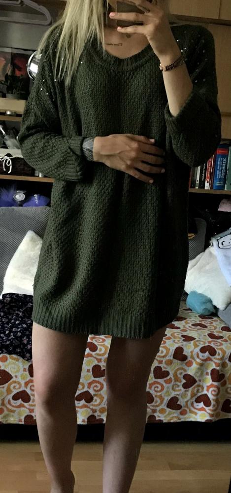 Khaki oversize długi sweter splot
