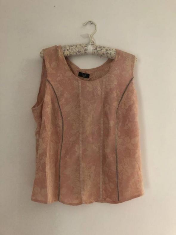 Bluzeczka bluzka na ramiączkach różyczki pudrowy róż