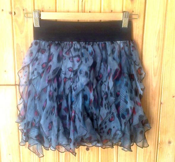 spódnica mini falbanki Awear s 36 niebieska cętki