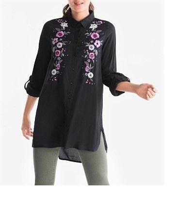 44 NOWA Piękna długa koszulowa bluzka czerń z haftami C&A...