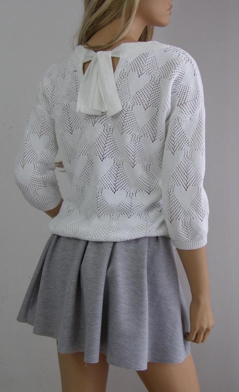 sweter biały kokarda 38 M słodki serca romantyczny