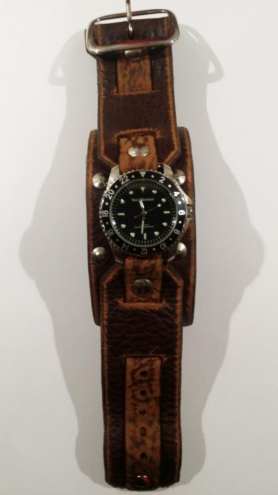 Nowy skórzany zegarek Red Monkey brązowy