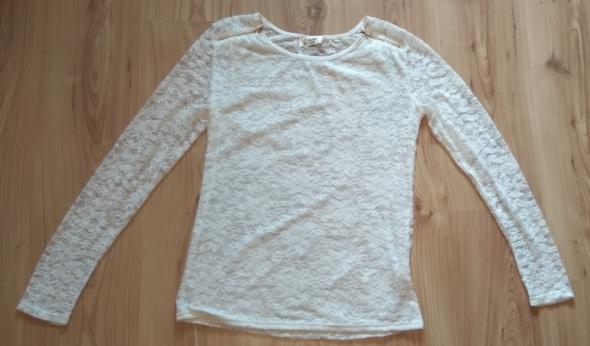 Nowa biała koronkowa bluzka z długim rękawem złote zipy XL XXL