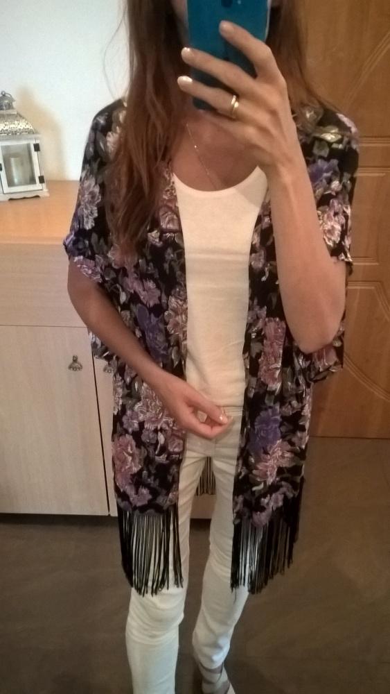 Narzutka bluzka z frędzlami New Look