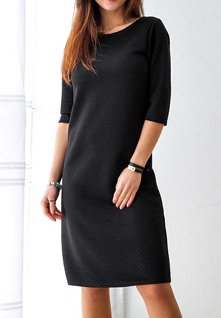 8752f3f60b Suknie i sukienki Vubu Sukienka Pikowana Czarna Elegancka Dresowa Ciepła  Klasyczna Casual Basic Retro Rock 40