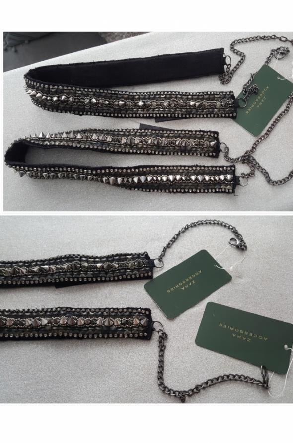 Paski Zara Accessories łańcuch ćwieki stożki nity cyrkonie