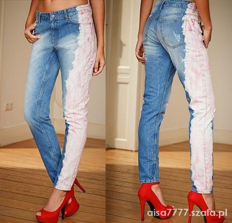 Rewelacyjne dekatyzowane dwukolorowe jeansy