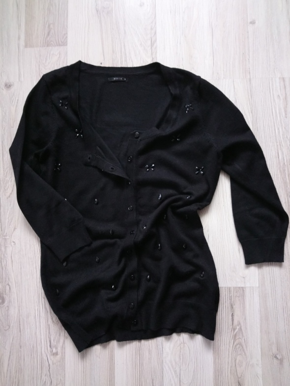 Czarny rozpinany sweterek sweter kardigan elegancki...