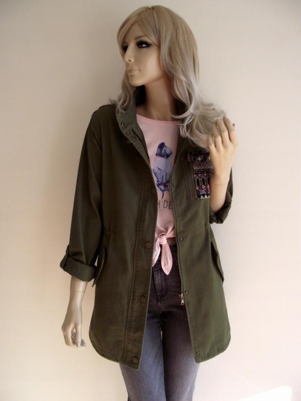b162b0f4fba51 Odzież wierzchnia Modna nowa damska kurtka parka khaki w militarnym stylu S