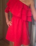 Czerwona sukienka na jedno ramię sexy nowa...