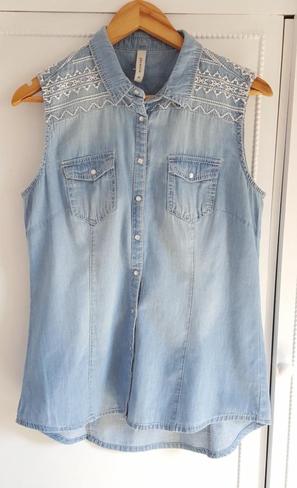 Jasna jeansowa koszula haft wzór Reserved 40 L boho aztec jak nowa