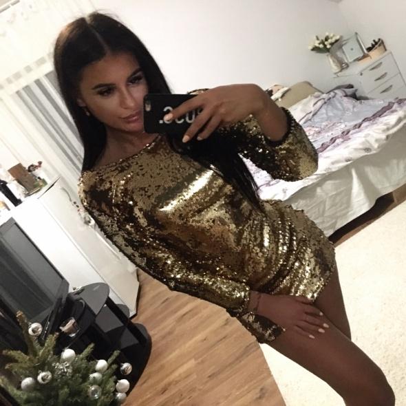 Piekna sukienka złota z cekinami s nowa