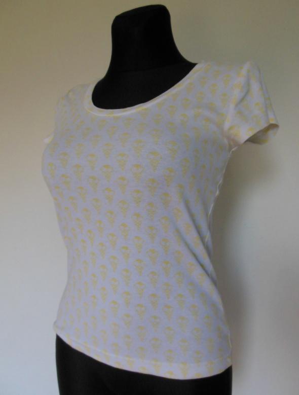 ONLY koszulka biała w żółte lody 38 t shirt