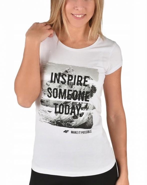 nowy biały tshirt 4F make it possible L M
