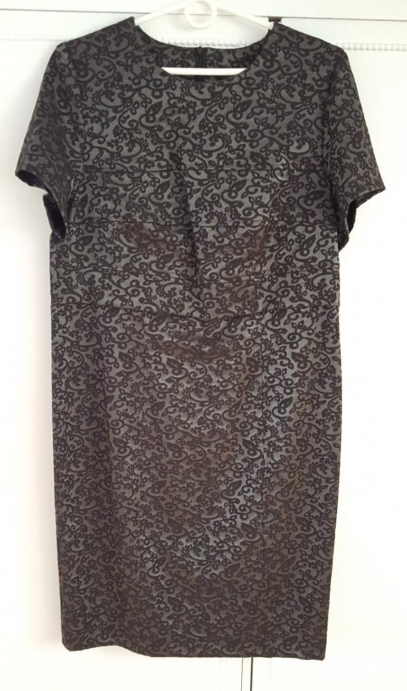Nowa sukienka elegancka 40 L żakardowa srebrno czarna midi