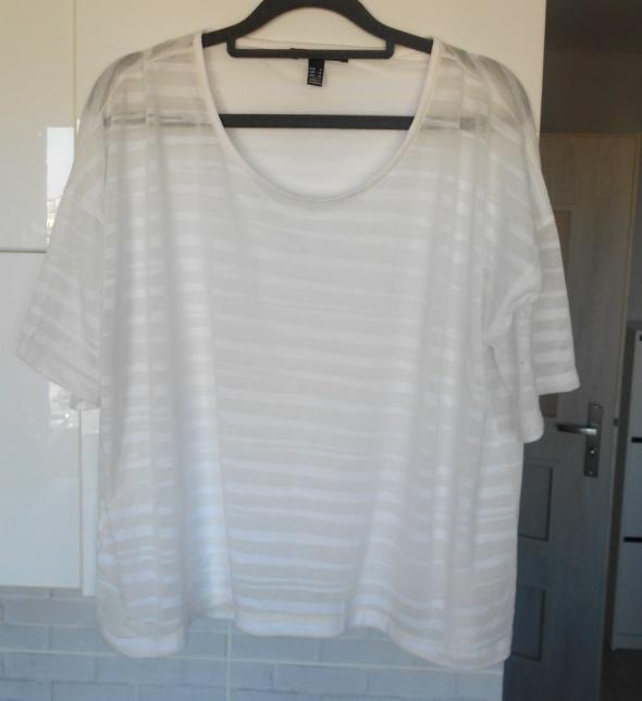 Mango mgiełka koszulka paski przezroczysta minimal
