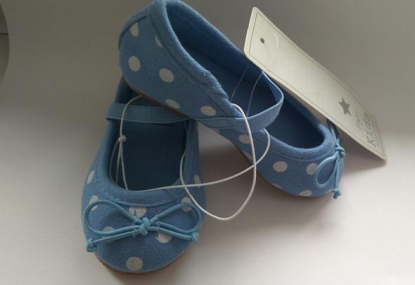 Nowe buciki balerinki niebieskie w groszki twarda podeszwa 20 F&F kids
