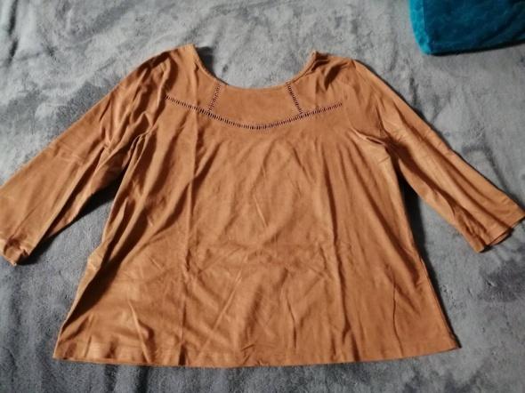 Zamszowa bluzka z rękawem do łokci...