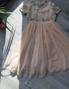 Sukienka ASOS brzoskwiniowa tiulowa tiul nowa cekinki...