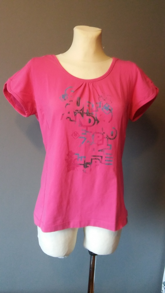Esprit różowa koszulka z nadrukiem