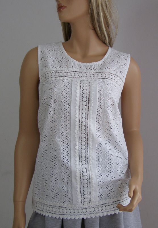bluzka top biała haft koronka gipiura 44 XXL