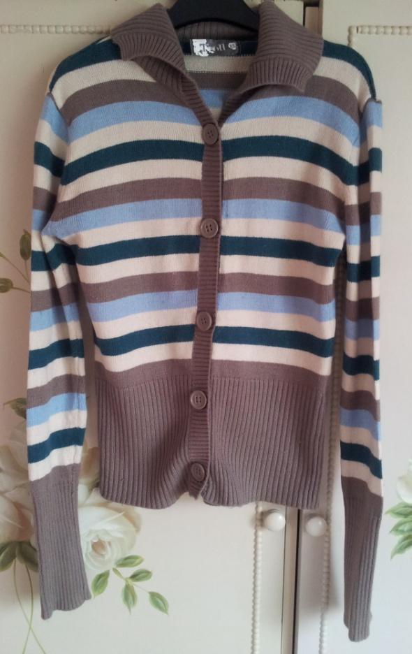Rozpinany sweter kardigan Troll XS 34 S 36 paski w