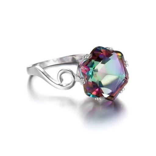pierścionek srebrny z topazem