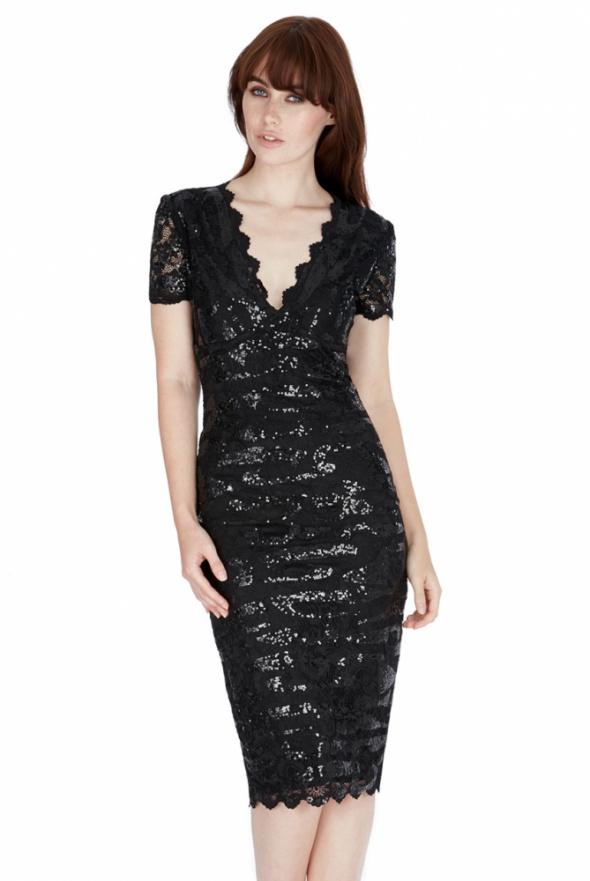 0a4ab1a4 Czarna cekinowa sukienka na sylwestra midi z krótkim rękawem w ...