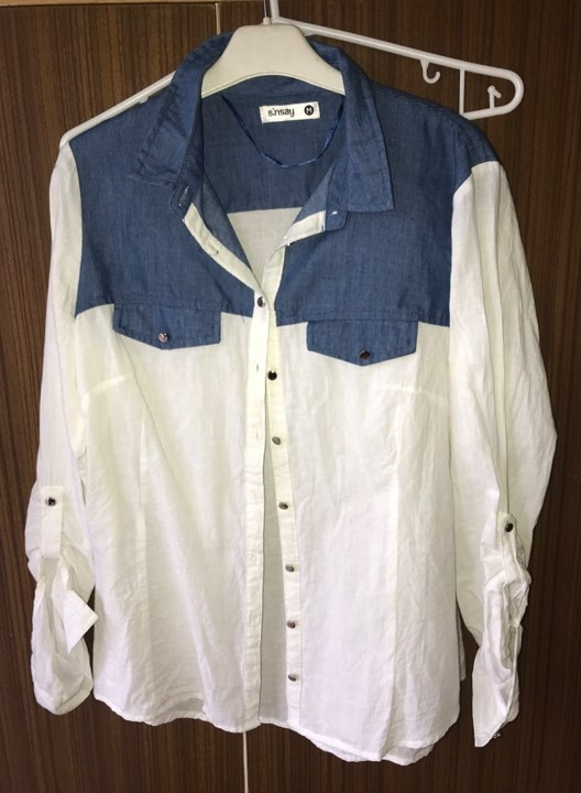Biała koszula z wstawka jeans M