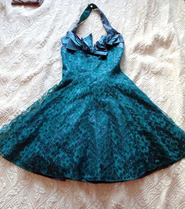 Butelkowa zieleń sukienka z kokardą S M