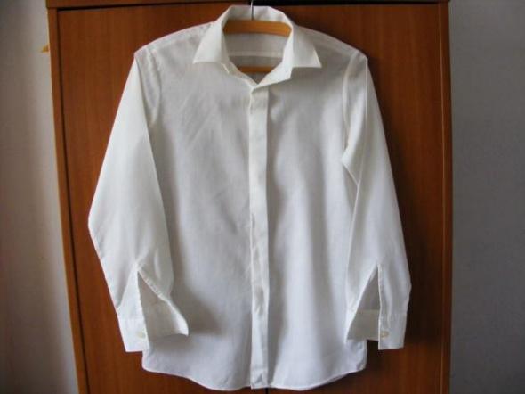 Biała bluzka młodzieżowa chłopięca koszulowa