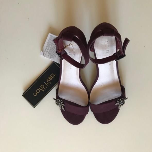 Śliwkowe sandałki szpilki fioletowe eleganckie 38 Mohito Gold L...
