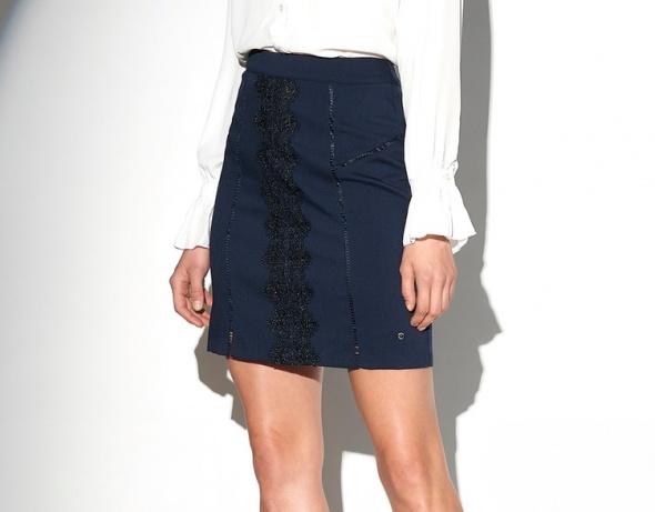 spódnica spódniczka haft granatowa top secret 38 m...