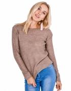 Modny lekki sweter ozdobne wiązanie kolory uni...