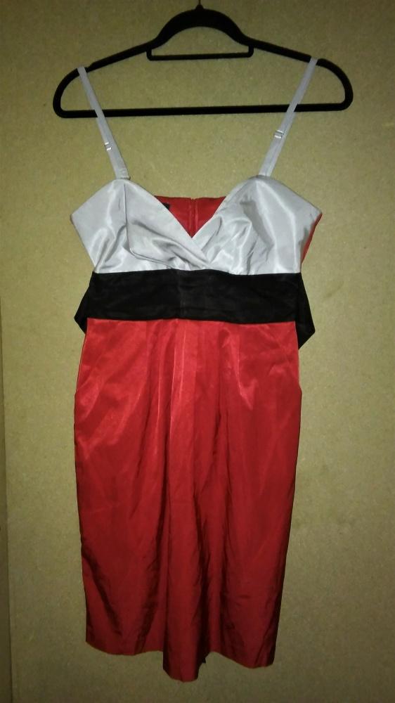 Trzy kolorowa elegancka sukienka na ramiączkach 36 38