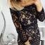 sukienka mini czarna koronka haft hiszpanka tuba kremowa s...